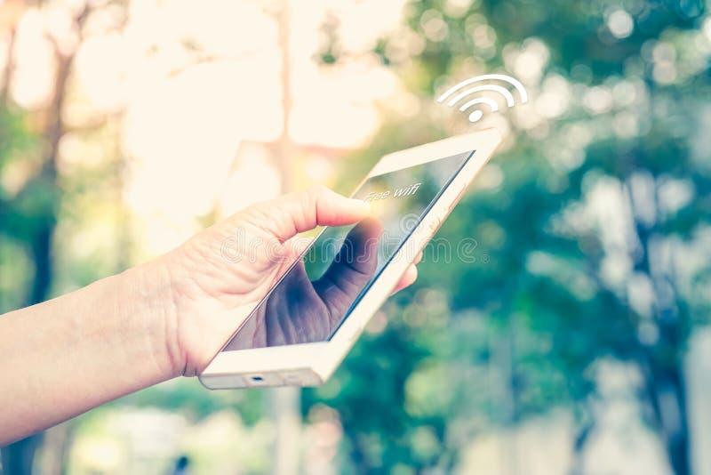 Telefono cellulare umano della tenuta della mano del ` s e wifi libero collegato in filtro dall'annata del parco pubblico immagine stock