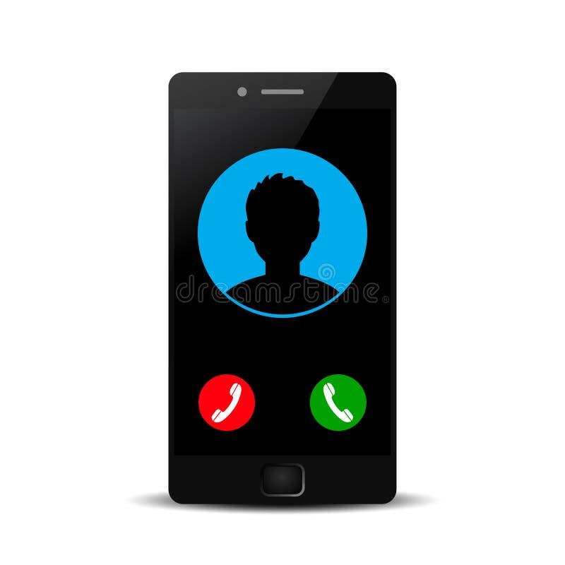 Telefono con l'avatar dell'icona del contatto che ha chiamato - vettore illustrazione vettoriale