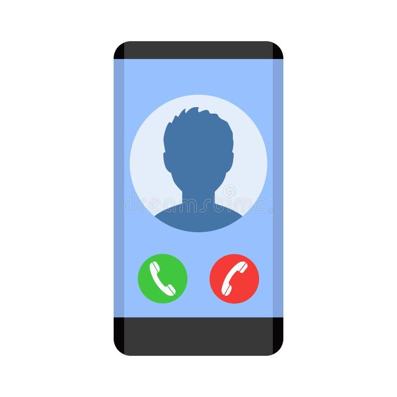 Telefono con l'avatar dell'icona del contatto che ha chiamato - vettore royalty illustrazione gratis