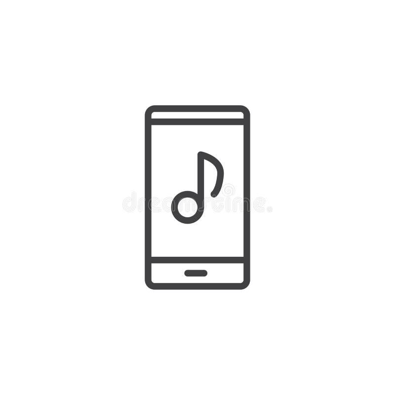 Telefono con la linea icona della nota musicale illustrazione vettoriale