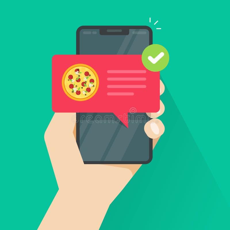 Telefono con pizza sull'illustrazione di vettore dello schermo, cellulare piano con la notifica di consegna dell'alimento, smartp illustrazione vettoriale