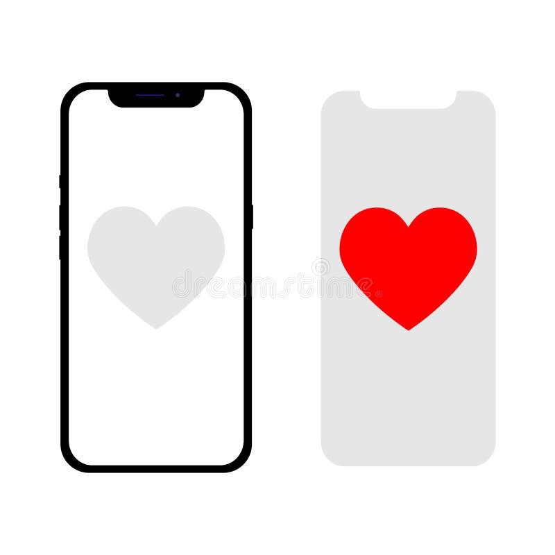 Telefono con un cuore come un messaggio Illustrazione di vettore nello stile piano illustrazione vettoriale