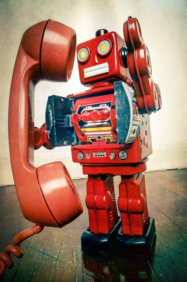 Telefono d'annata del robot immagini stock