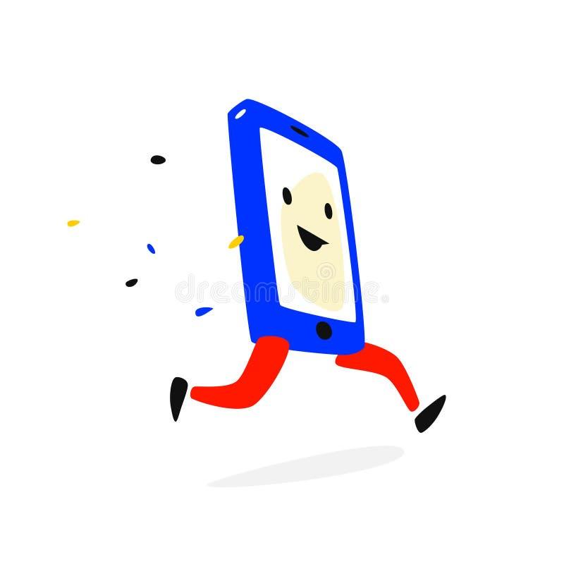 Telefono del personaggio dei cartoni animati Illustrazione di vettore Il telefono cellulare sta correndo Lo smartphone cola sull' illustrazione di stock