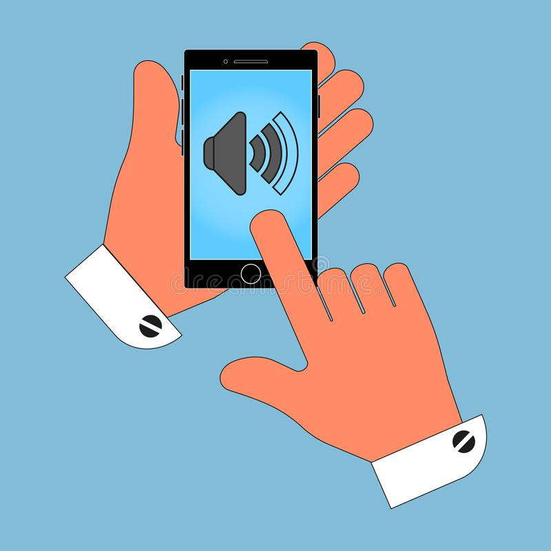 Telefono dell'icona a disposizione, segno sullo schermo del volume, isolato su fondo blu illustrazione di stock