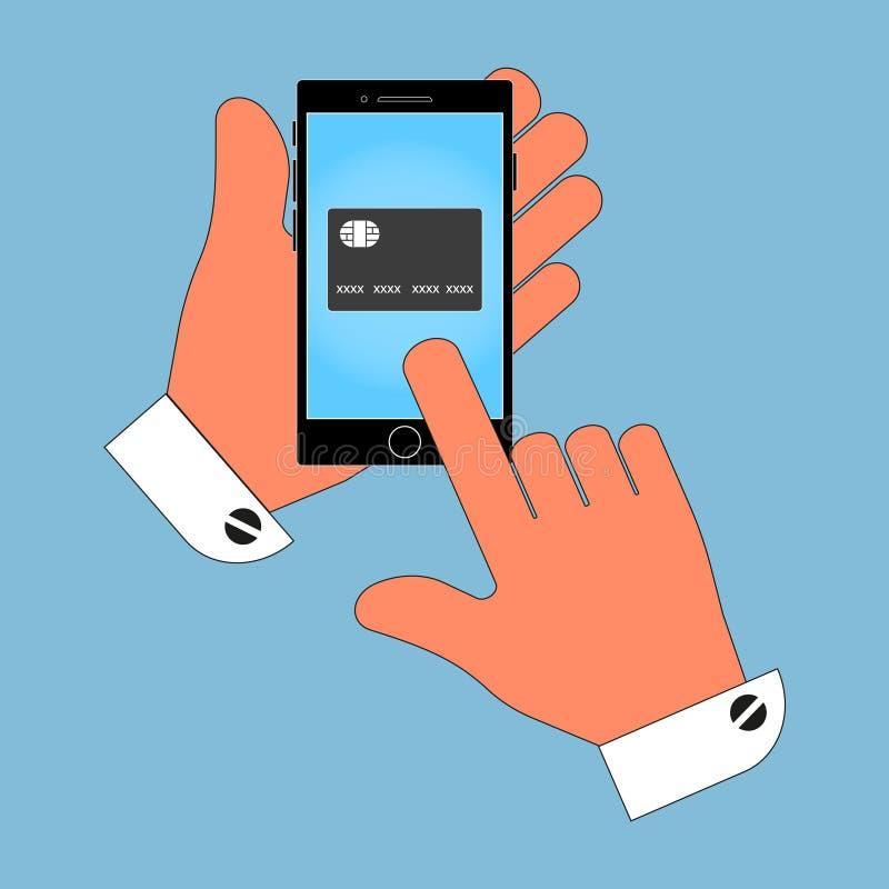 Telefono dell'icona in mani su uno schermo della carta di credito, isolato su fondo blu illustrazione di stock