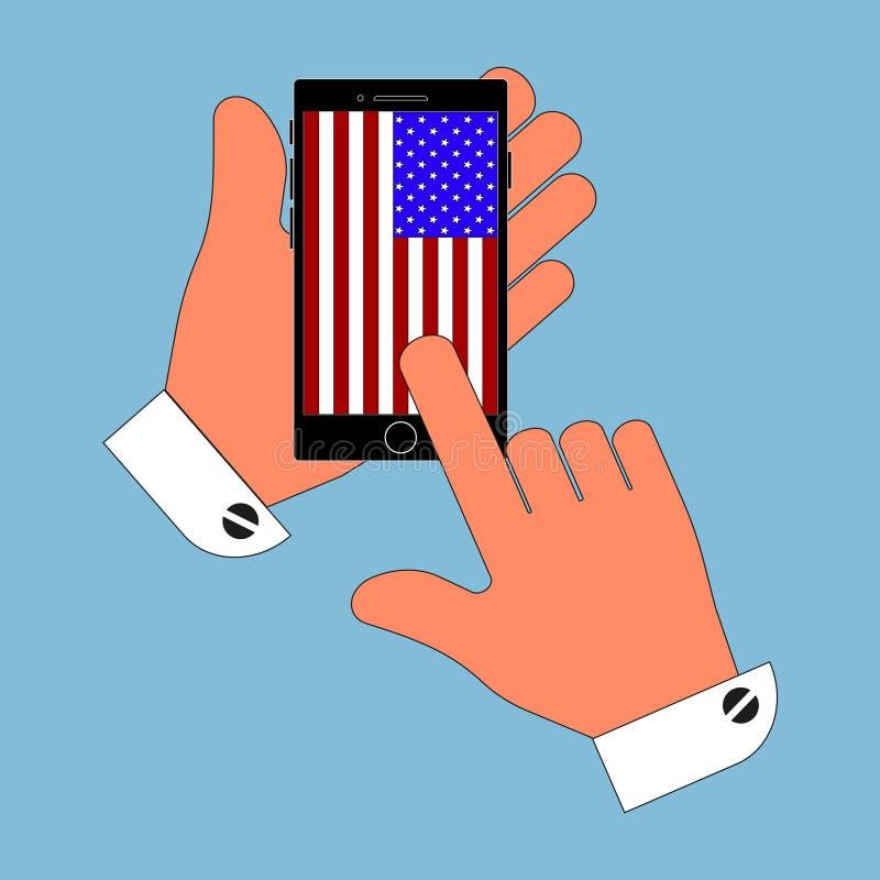 Telefono dell'icona in sua mano sull'isolato della bandiera americana dello schermo su fondo blu Illustrazione alla moda di vetto royalty illustrazione gratis