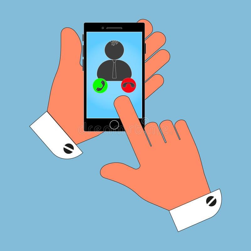 Telefono dell'icona in sua mano sullo schermo dell'operatore, la fonte, isolamento su un fondo blu Illustrazione alla moda di vet illustrazione vettoriale