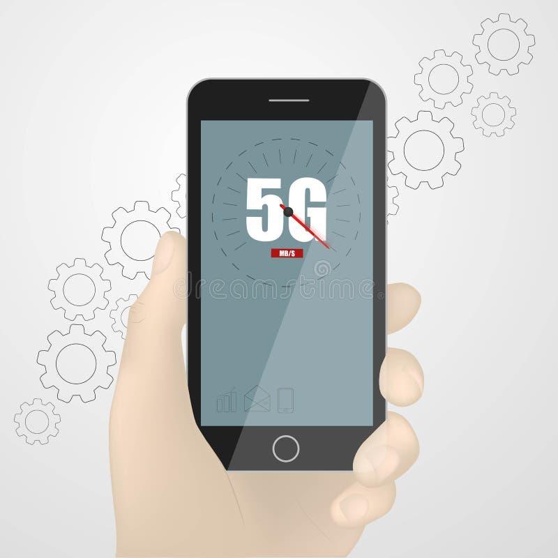 Telefono della tenuta dell'uomo con il logo mobile della rete 5G sullo schermo Rete wireless della quinta generazione Ingranaggio illustrazione vettoriale