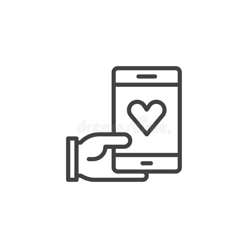 Telefono della tenuta della mano con la linea di cuore icona illustrazione di stock