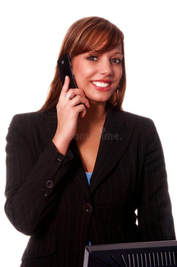 Telefono delle cellule della donna di affari fotografia stock