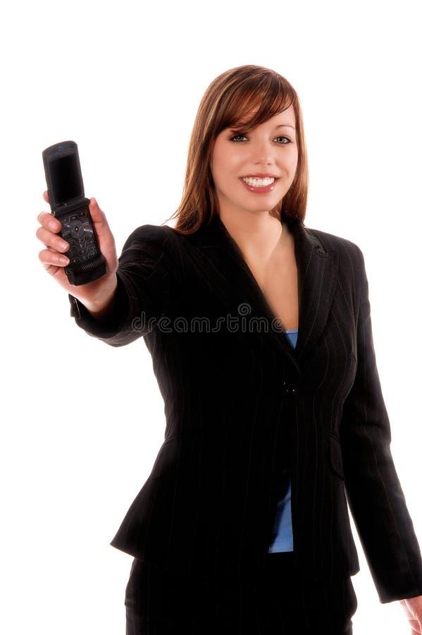 Telefono delle cellule di offerta della donna di affari fotografia stock libera da diritti