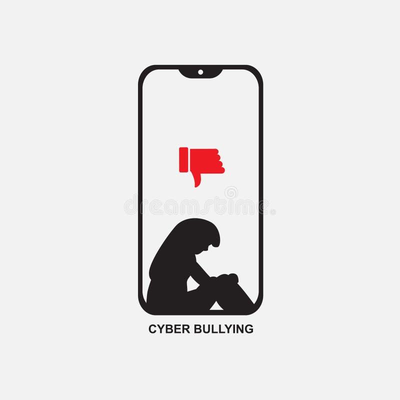 Telefono di cyberbullismo con il grafico triste della donna, vettore dell'icona illustrazione di stock