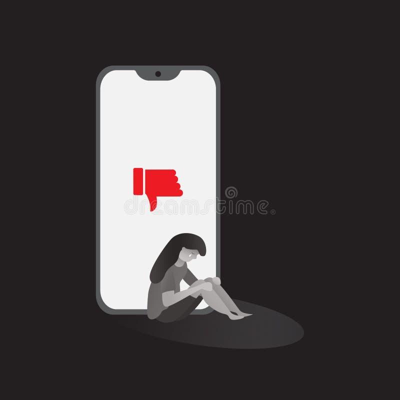telefono di cyberbullismo con le illustrazioni grafiche di vettore del fondo triste di tatto del carattere royalty illustrazione gratis