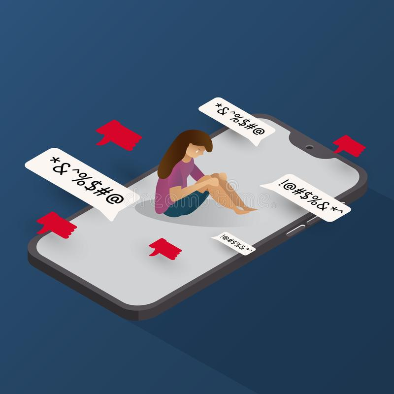 telefono di cyberbullismo isometrico con le illustrazioni grafiche di vettore del fondo triste di tatto del carattere illustrazione vettoriale