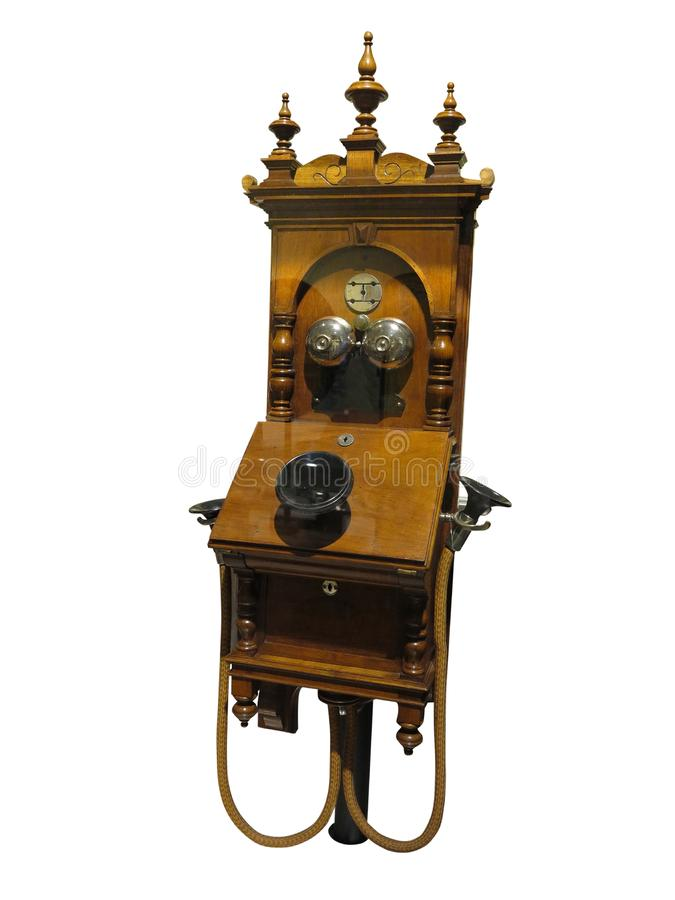 Telefono di legno d'annata antico dall'inizio 20 del secolo, i fotografie stock libere da diritti