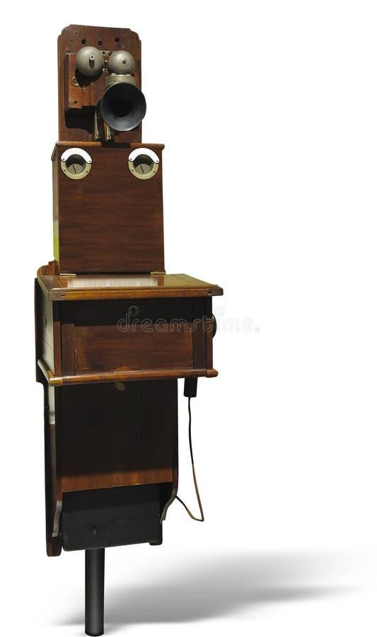 Telefono di legno d'annata antico dall'inizio 20 del secolo, i immagine stock