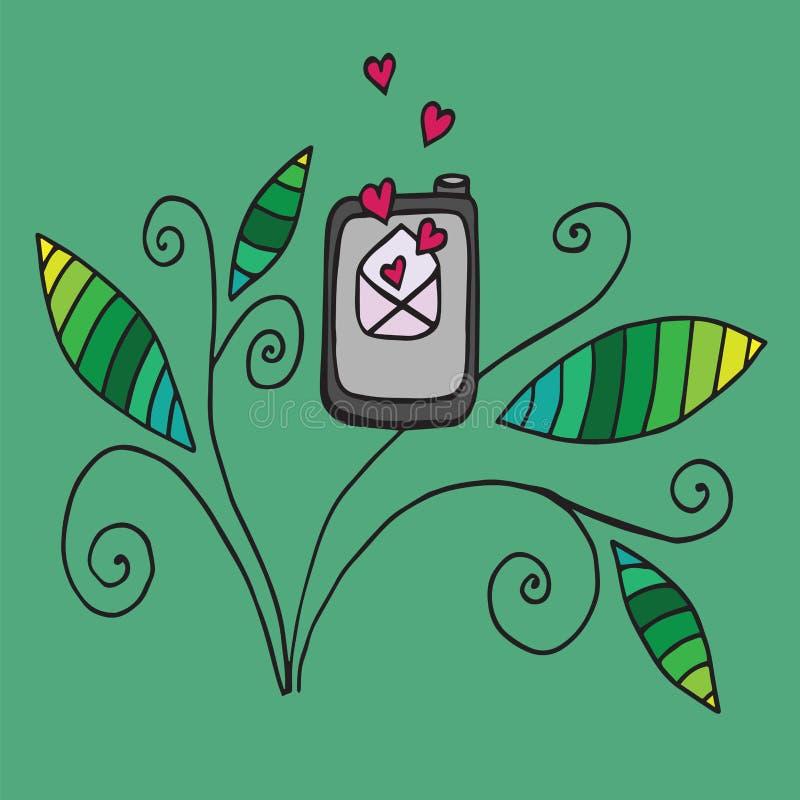 Telefono di scarabocchio con la lettera di amore aperta royalty illustrazione gratis
