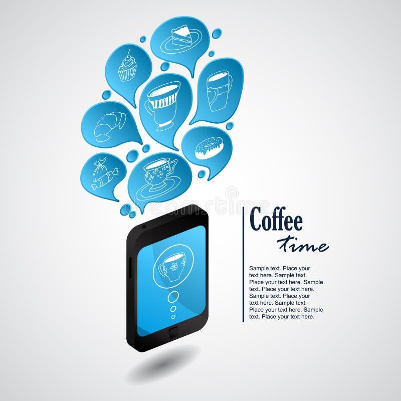 Telefono di squillo con le bolle di caffè illustrazione di stock