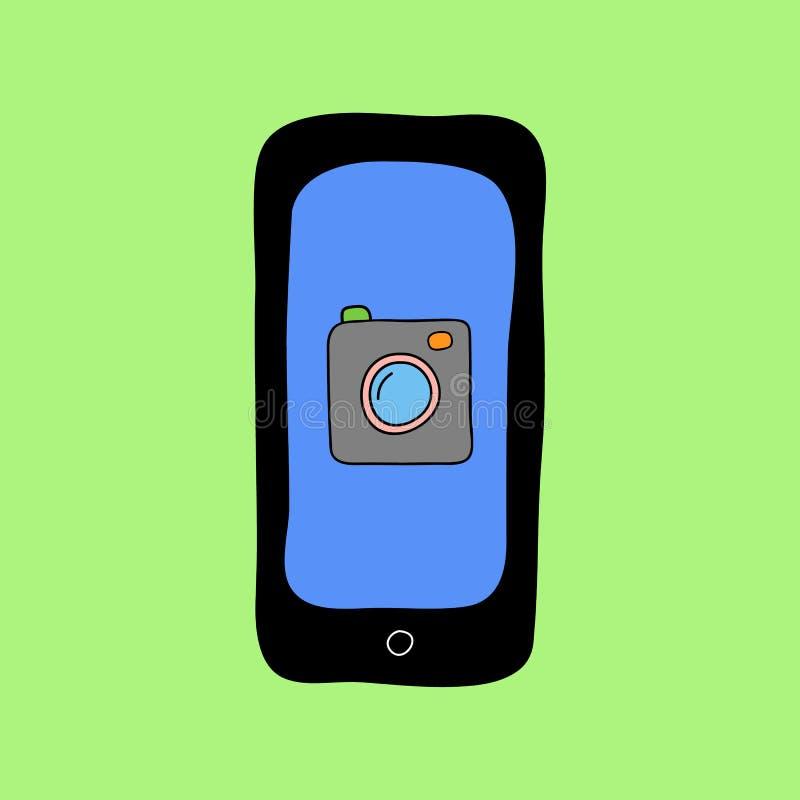 Telefono di stile di scarabocchio con la macchina fotografica illustrazione vettoriale
