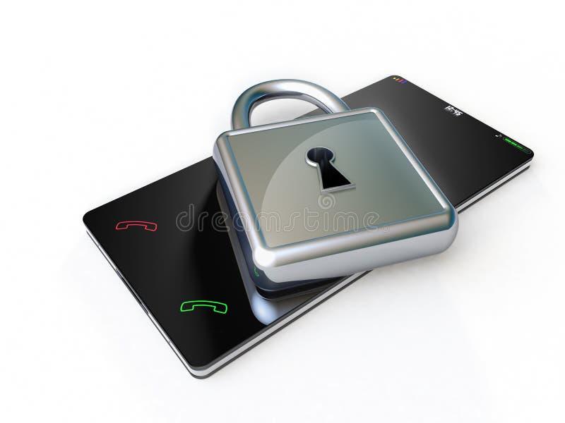 Telefono di touch screen con un lucchetto metallico qui sopra. illustrazione di stock