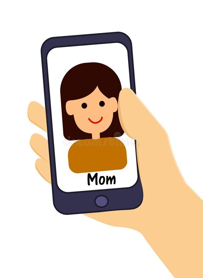 Telefono a disposizione Chiamate della mamma Illustrazione di vettore royalty illustrazione gratis