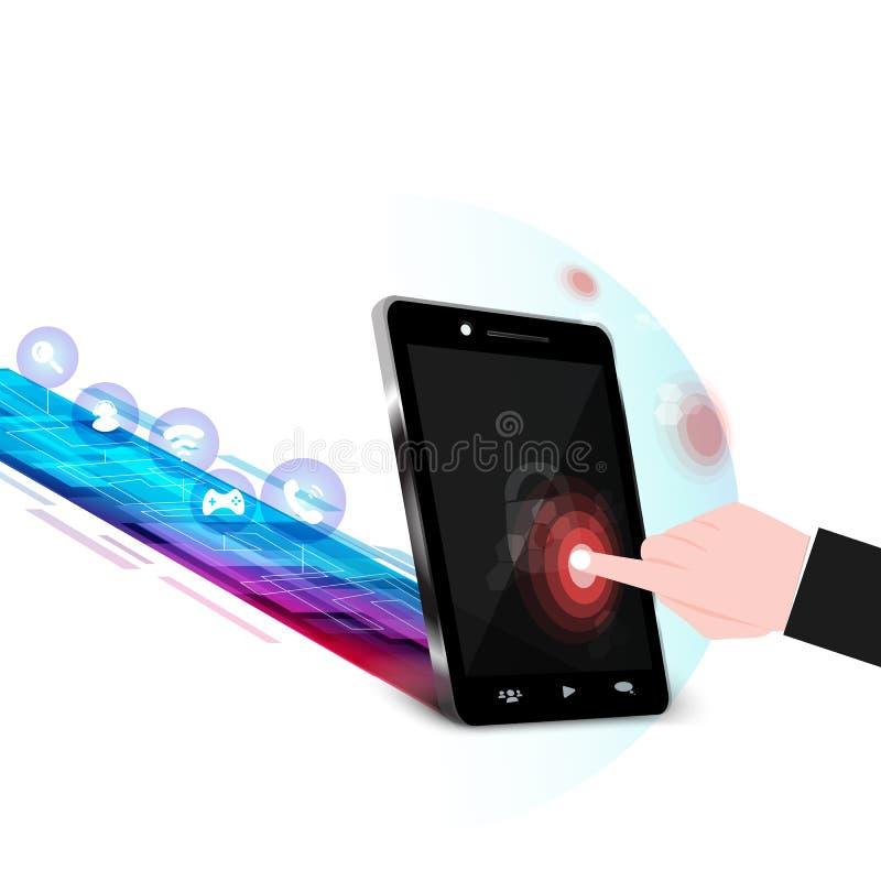 Telefono e sistema di protezione dei dati mobile, sicurezza di infographic royalty illustrazione gratis