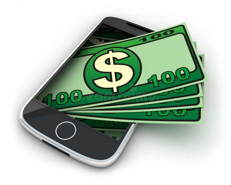 Telefono e soldi illustrazione vettoriale