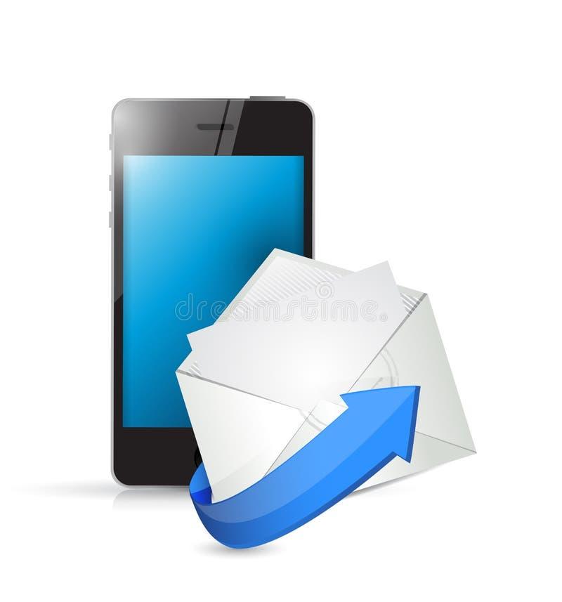 Telefono ed email. contattici in movimento concetto royalty illustrazione gratis