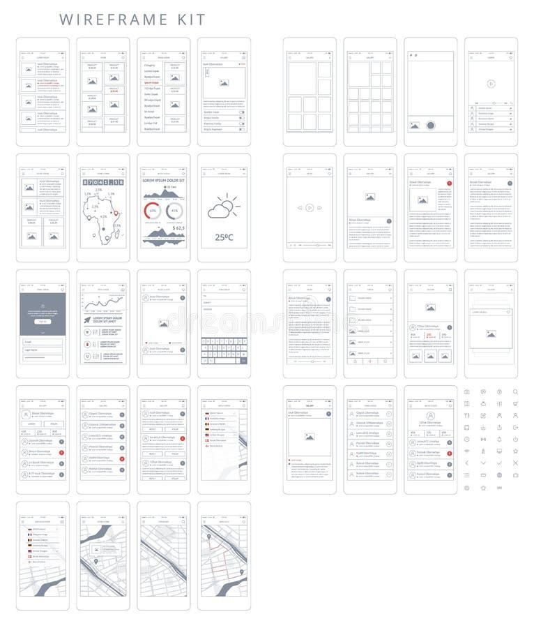 Telefono GUI Template di vettore Corredo di Wireframe UI royalty illustrazione gratis