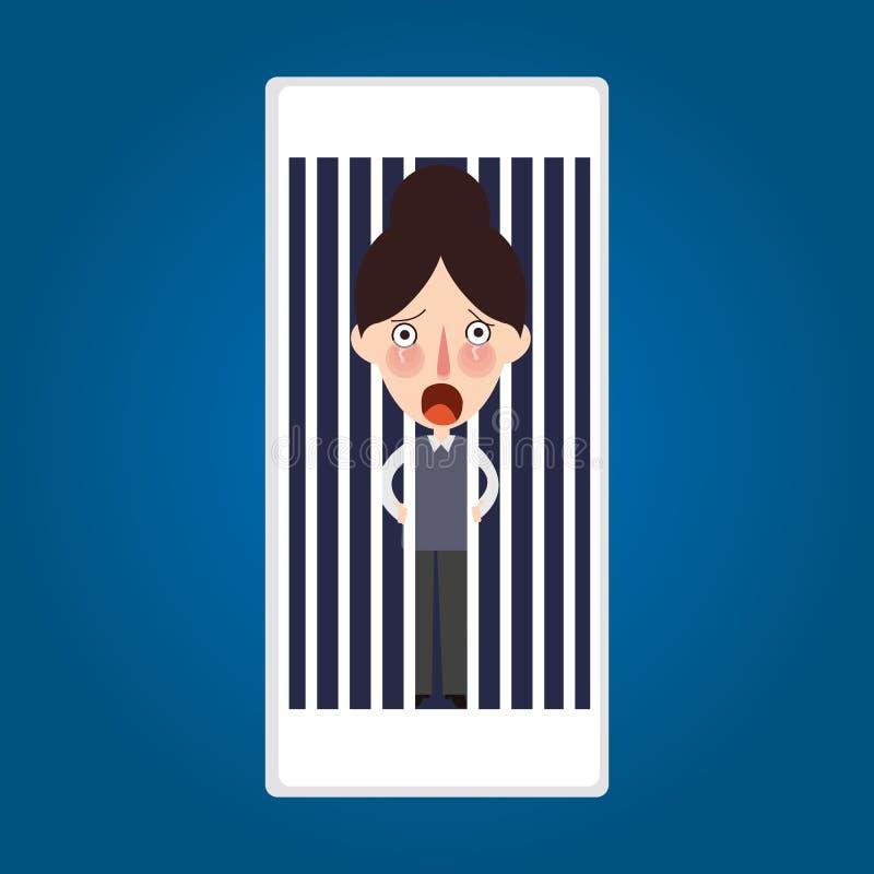 Telefono interno bloccato imprigionato perché attività mobile della posta illustrazione vettoriale