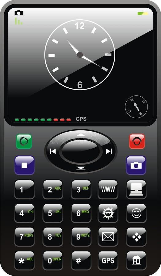 Telefono lucido nero delle cellule con l'orologio illustrazione vettoriale