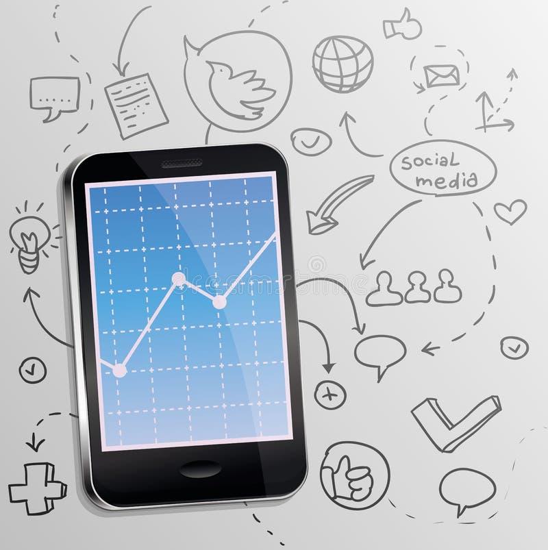 Telefono mobile di vettore con il concetto sociale di media illustrazione di stock