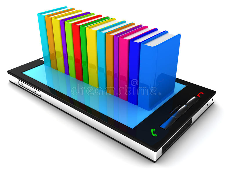 Telefono mobile e libro illustrazione vettoriale