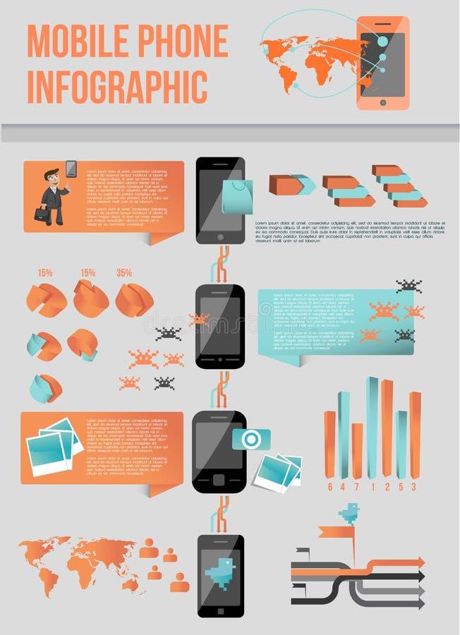 Telefono mobile moderno infographic royalty illustrazione gratis