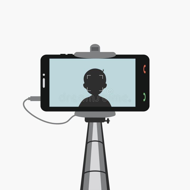 Telefono nel selfie di monopiede Smartphone con la siluetta illustrazione vettoriale