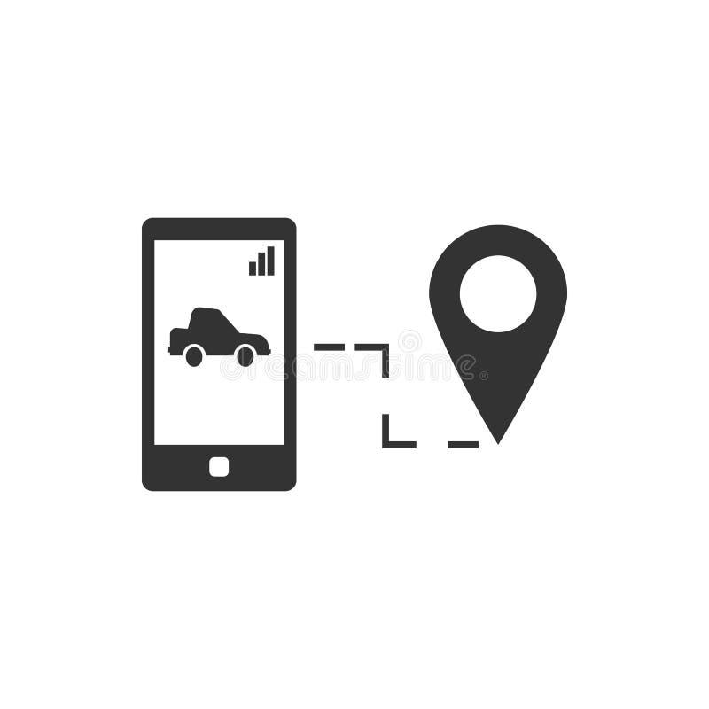 Telefono, perno, icona astuta di vettore dell'automobile Icona di vettore di sicurezza illustrazione vettoriale