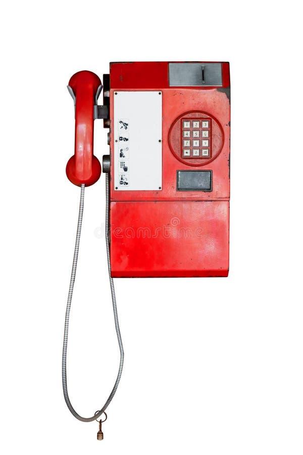 Telefono pubblico d'annata isolato su bianco immagine stock