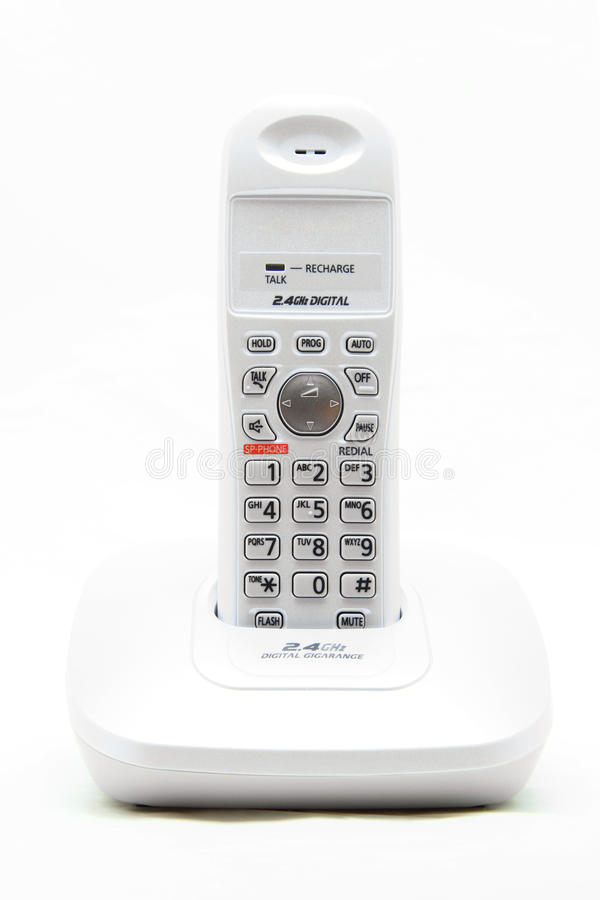 Telefono senza cordone bianco immagine stock