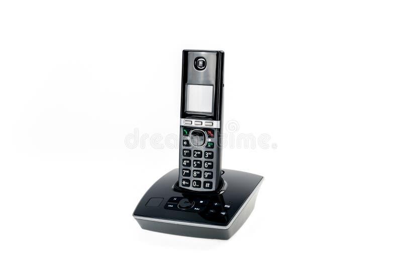 Telefono senza cordone moderno di dect con la segreteria automatica isolata fotografie stock libere da diritti