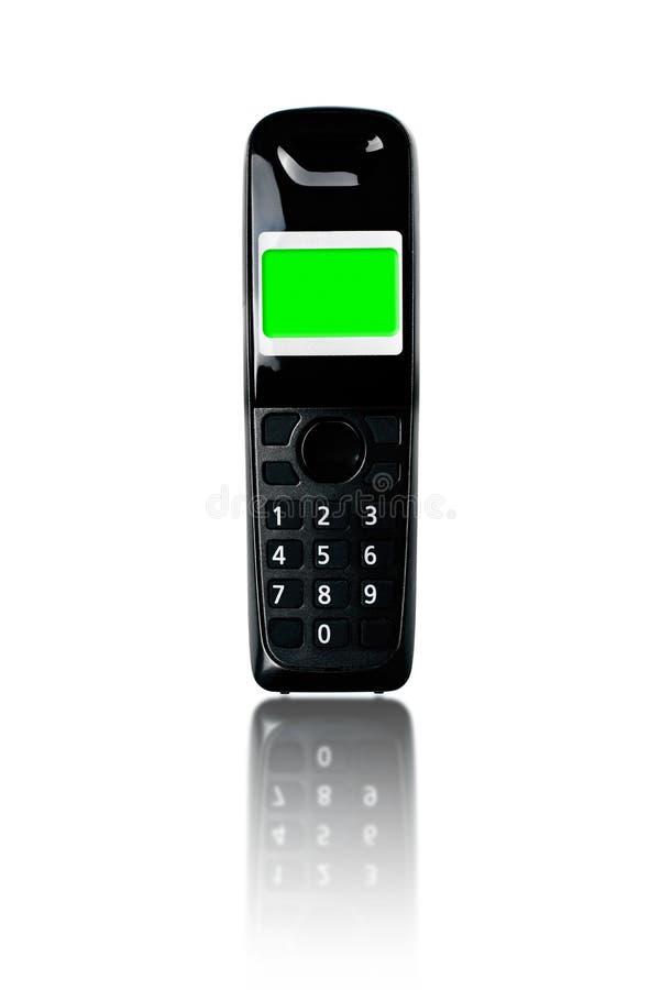 Telefono senza fili Telefono senza cordone con la riflessione sul backgrou bianco immagine stock