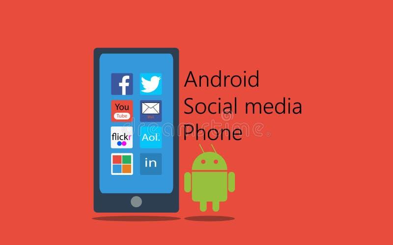 Telefono sociale di media di Android illustrazione di stock