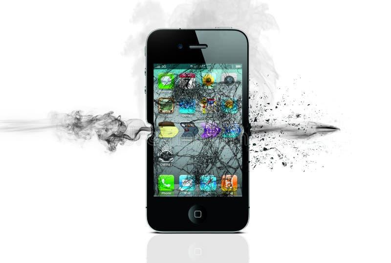 Telefono sparato con la pallottola immagini stock libere da diritti
