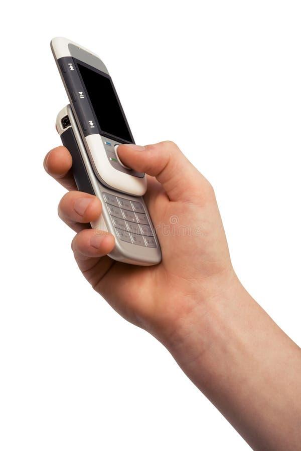 Telefono in una mano immagini stock