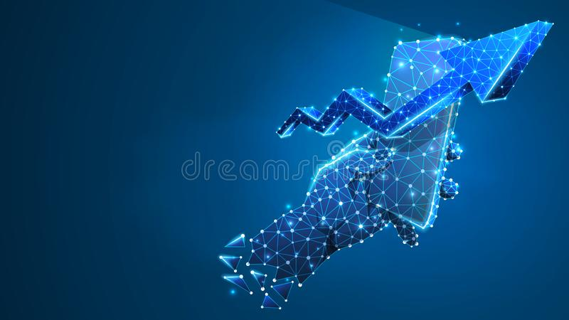 Telefono in una mano, freccia sul simbolo sullo schermo mobile Crescita del mercato, concetto di commercio di applicazione Estrat illustrazione di stock