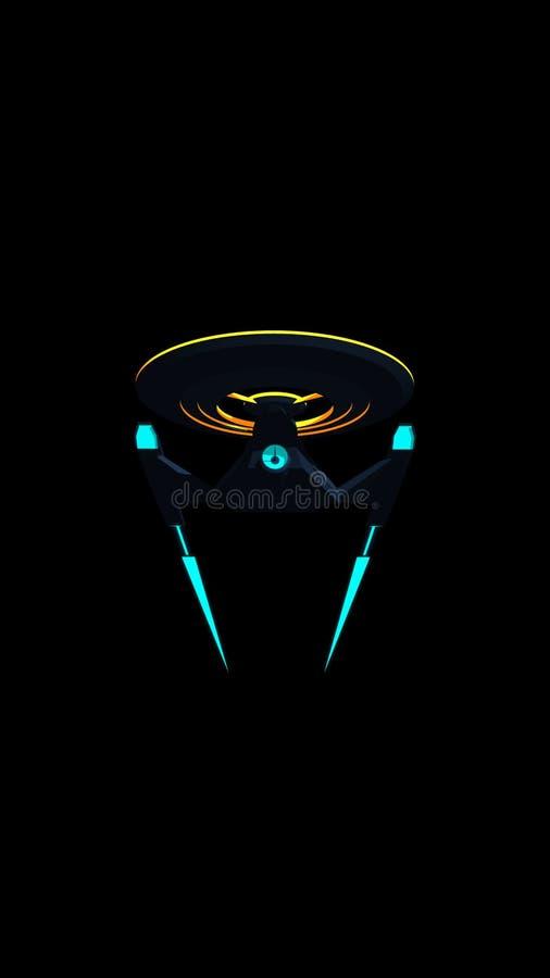 Telefono Wallpaprer dell'immagine romanzata di scienza di uno starship dello spazio profondo su fondo nero illustrazione di stock