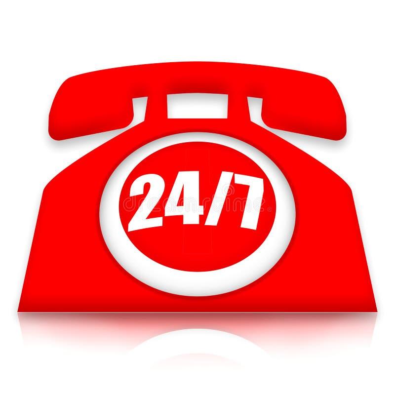 24/7 telefonservice royaltyfri illustrationer