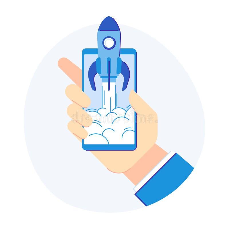 Telefonstartbegrepp Mobiltelefonrocketship för frigörare för ny produktutveckling Plan vektorillustration royaltyfri illustrationer