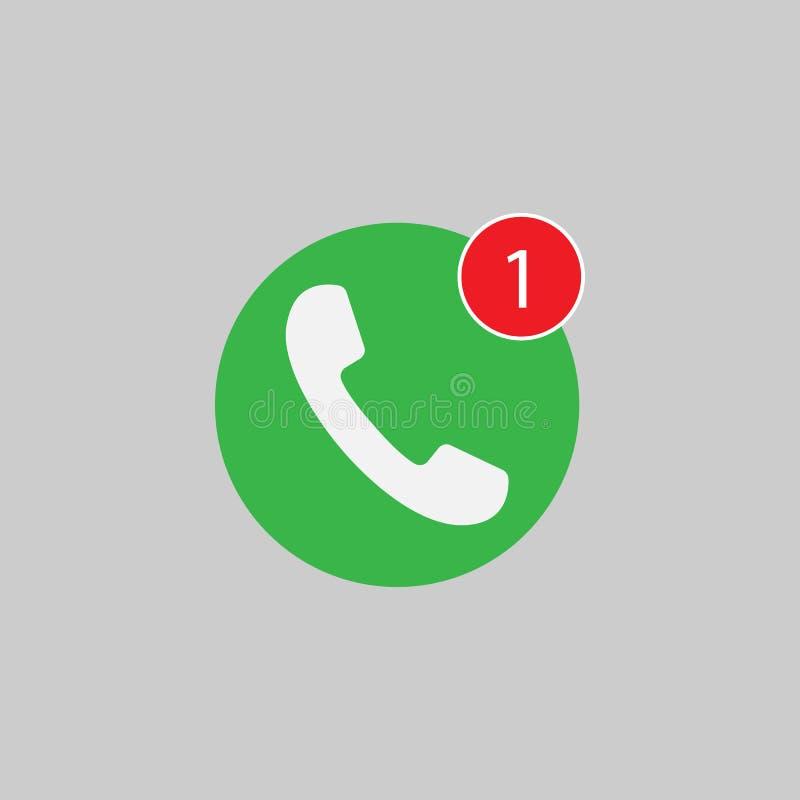Telefonsymbol, ett felande appelltecken som är vitt på grön bakgrund Plan illustration för vektor royaltyfri illustrationer