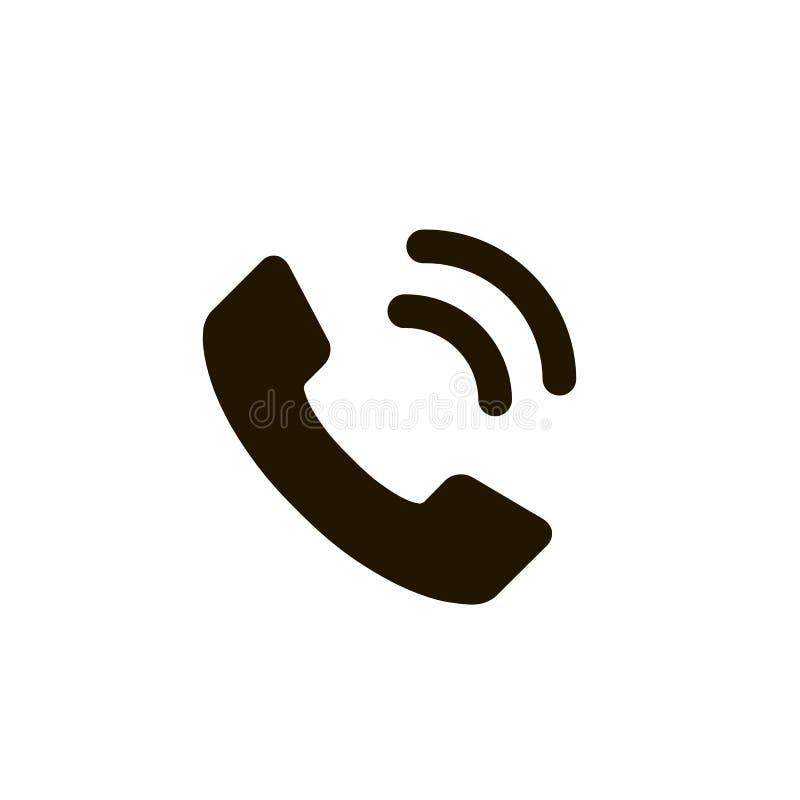 Telefonsymbol i moderiktig plan stil som isoleras på vit bakgrund Telefonsymbol Svart vektorillustration vektor illustrationer